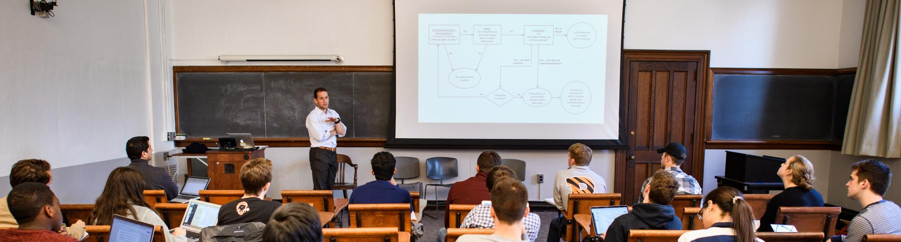 Photo of Prof. Jacob Shapiro teaching POL 386